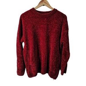 George Soft Chenille Crew Neck Pullover Red M